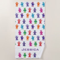 Trendy Rainbow Robots Pattern Personalized Kids Beach Towel