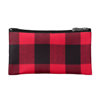 Trendy Red and Black Cozy Buffalo Plaid Cosmetic Bag