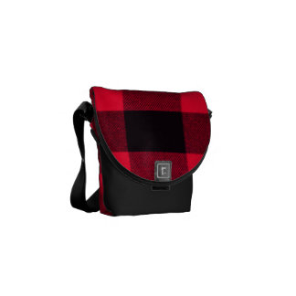 Trendy Red and Black Cozy Buffalo Plaid Messenger Bag