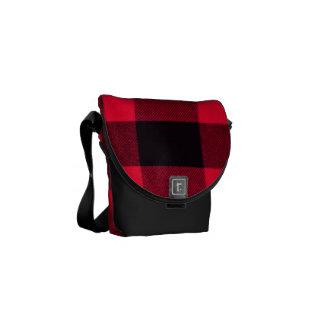 Trendy Red and Black Cozy Buffalo Plaid Messenger Bag