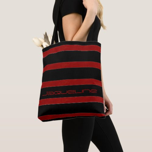 Trendy Red and Black Stripes with Name Tote Bag