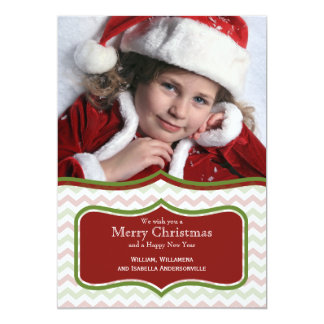 Trendy Red And Green Chevron Flat Photo Card Custom Announcement