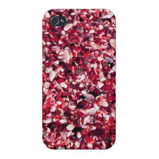 Trendy Red and Pink Painted Pebble Beach Case For iPhone 4