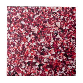 Trendy Red and Pink Painted Pebble Beach Ceramic Tile