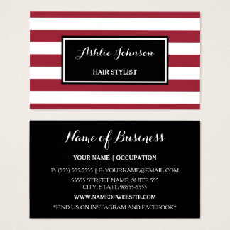 Trendy Red and White Stripes Salon Hair Stylist Business Card