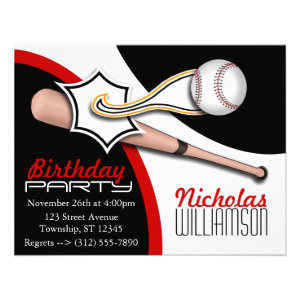 Trendy Red Baseball Birthday Invitations