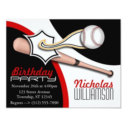 Trendy Red Baseball Birthday Invitations