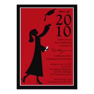Trendy Red & Black Graduation Invitation