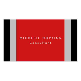 Trendy Red Black Gray Stripes Professional Chic Business Card