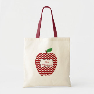 Trendy Red Chevron Zigzag Apple Teacher Tote Bag