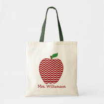 Trendy Red Chevron Zigzag Apple Teacher Tote Bag