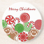 Trendy red Christmas gingerbreads Drink Coasters