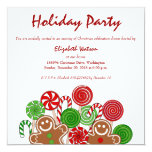 Trendy red Christmas gingerbreads 5.25x5.25 Square Paper Invitation Card