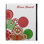 Trendy red Christmas gingerbreads iPad Case