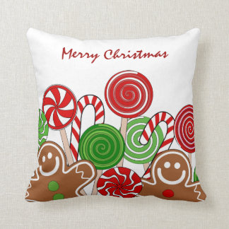 Trendy red Christmas gingerbreads Throw Pillows