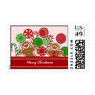 Trendy red Christmas gingerbreads Postage