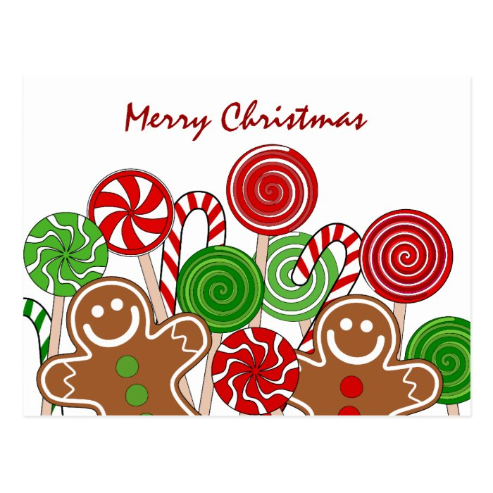 Trendy red Christmas gingerbreads Postcard