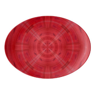 Trendy Red Circle Pattern Porcelain Serving Platter