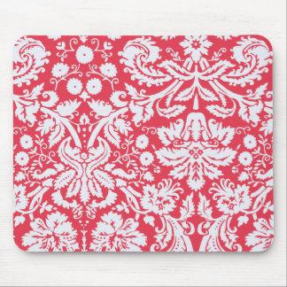 Trendy Red Damask Pattern Mousepads