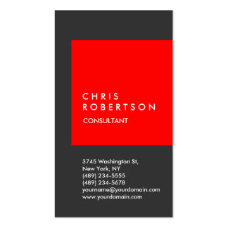 Trendy Red Gray Stripe Consultant Business Card