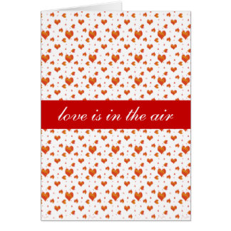 """Trendy  Red Hearts Pattern """"Love is in the Air """" Card"""