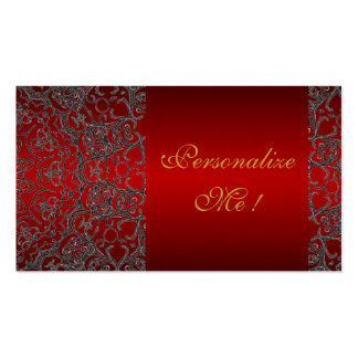 Trendy Red Initial Girly Elegant Black Modern Lace Business Card