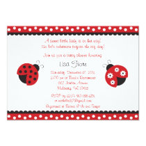 Trendy Red Ladybug Baby Shower Invitations