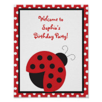 Trendy Red Ladybug Birthday Baby Shower Sign Poster
