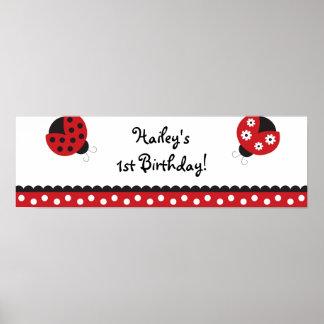 Trendy Red Ladybug Birthday Banner Sign