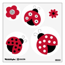 Trendy Red Ladybug Circle Wall Stickers Decals