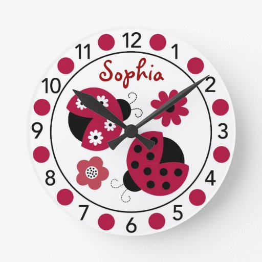 Trendy Red Ladybug Personalized Nursery Wall Clock