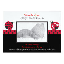 Trendy Red Ladybug Photo Birth Announcement