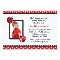 Trendy Red Ladybug Photo Birthday Invitations