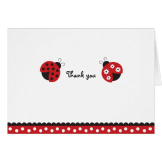 Trendy Red Ladybug Thank You Note Cards