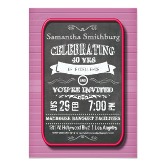 "Trendy Red Neon Chalkboard Birthday Party Invite 4.5"" X 6.25"" Invitation Card"