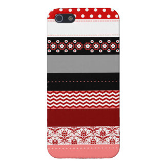 Trendy Red Pink Black & White Washi Tape Design Cover For iPhone SE/5/5s