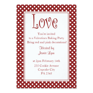 Trendy red polka dot valentine's day Invitation