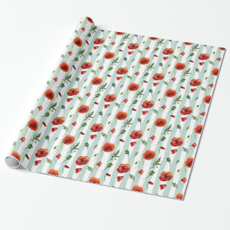 Trendy Red Poppies & Pastel Blue Stripes Pattern Wrapping Paper