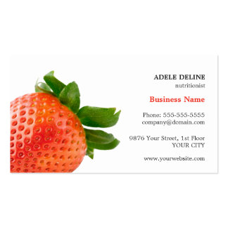 Trendy Red Strawberry Nutritionist Business Card