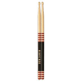 Trendy RED Stripes Custom Name A02 Drumsticks