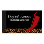 Trendy Red Vacuum Leopard Housekeeping Service Business Cards