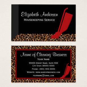 Leopard business cards 1800 leopard business card templates trendy red vacuum leopard housekeeping service business card colourmoves Image collections