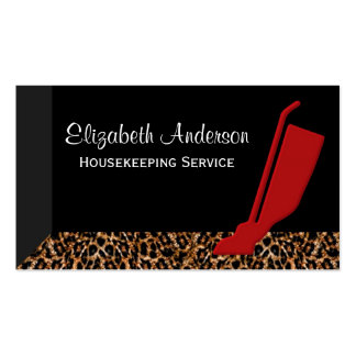 Trendy Red Vacuum Leopard Housekeeping Service Double-Sided Standard Business Cards (Pack Of 100)