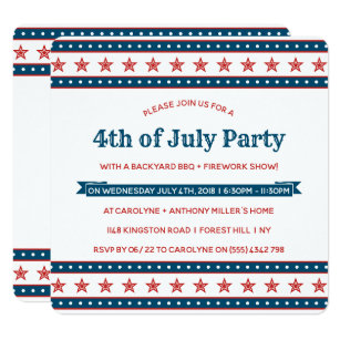 Trendy Red, White & Blue 4th Of July Party Invitation
