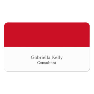 Trendy Red White Creative Plain Unique Stylish Business Card