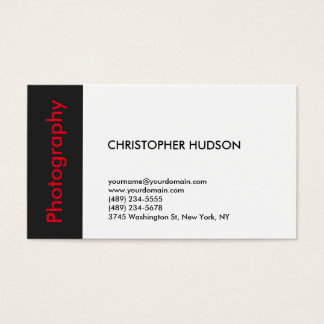 Trendy Red White Dark Grey Photography Business Card
