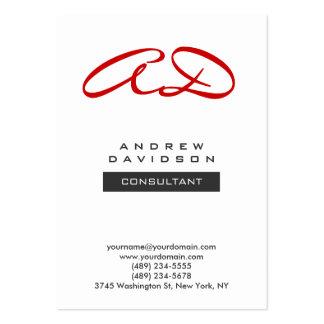 Trendy Red White Modern Monogram Business Card