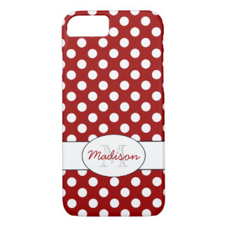 Trendy Red White polka dots Monogram iPhone 7 iPhone 8/7 Case