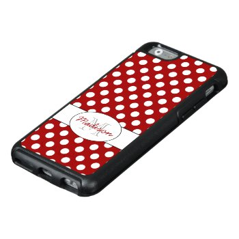 Trendy Red White Polka Dots Monogram Otterbox Iphone 6/6s Case by PLdesign at Zazzle