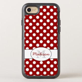 Trendy Red White polka dots Monogram OtterBox Symmetry iPhone 7 Case